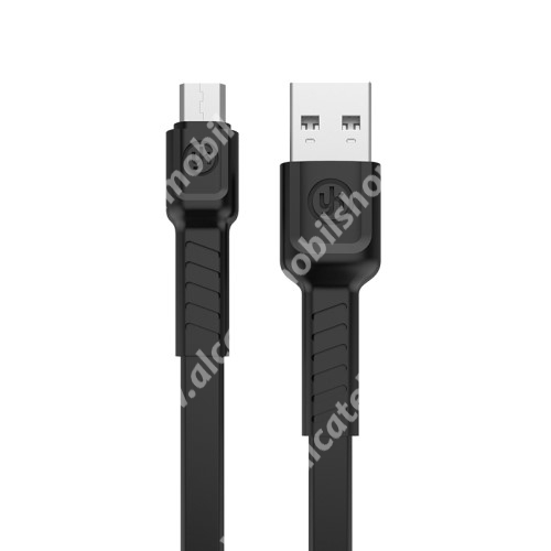 Alcatel OT-810D REMAX adatátviteli kábel / USB töltő - microUSB, 1m hosszú, 2.1A - FEKETE - GYÁRI