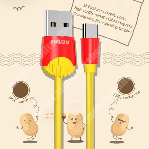 Allview P8 Energy Pro REMAX Chips Series adatátviteli kábel / USB töltő - SÜLT KRUMPLI MINTÁS - Type-C, 2.4A töltőáram átvitel, 1m - SÁRGA / PIROS