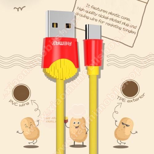 Xiaomi Mi True Wireless Earphones 2SREMAX Chips Series adatátviteli kábel / USB töltő - SÜLT KRUMPLI MINTÁS - Type-C, 2.4A töltőáram átvitel, 1m - SÁRGA / PIROS