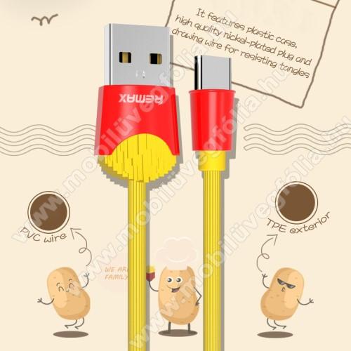 DJI Mavic AirREMAX Chips Series adatátviteli kábel / USB töltő - SÜLT KRUMPLI MINTÁS - Type-C, 2.4A töltőáram átvitel, 1m - SÁRGA / PIROS