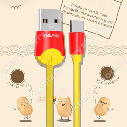 REMAX Chips Series adatátviteli kábel / USB töltő - SÜLT KRUMPLI MINTÁS - Type-C, 2.4A töltőáram átvitel, 1m - SÁRGA / PIROS