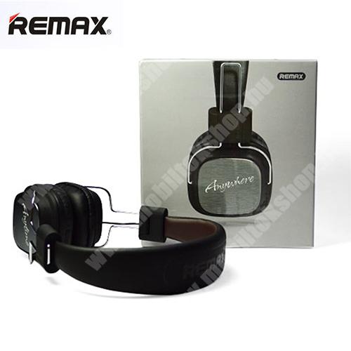 REMAX Hi-Fi sztereó fejhallgató / headset - 3,5mm Jack, mikrofon, felvevõ gomb, 32Ω, 20mW, összecsukható, 1,2m hosszú vezeték - FEKETE - RM-100H - GYÁRI