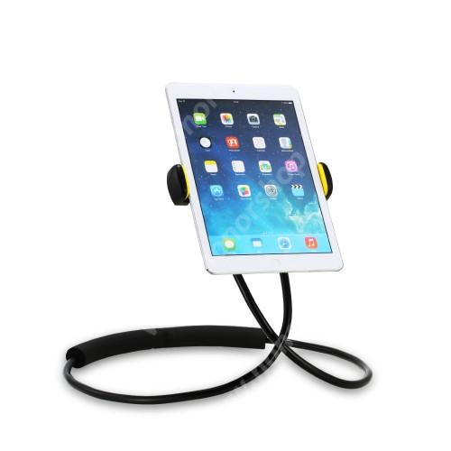 """REMAX nyakba akasztható tartó / állvány - 360°-ban forgatható, állítható, asztali tartó, flexibilis kar, derékra / nyakba akasztható - 4-10""""-os készülékhez - FEKETE - GYÁRI"""