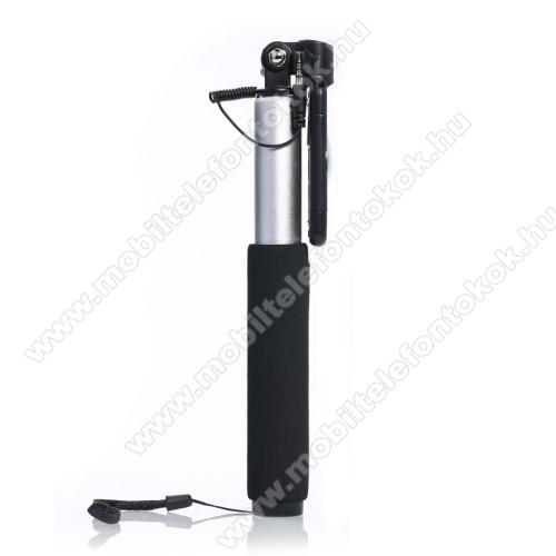 REMAX P5 teleszkópos selfie bot - 3.5mm jack csatlakozás, forgatható, 59-86mm-ig állítható telefon tartó bölcső - FEKETE