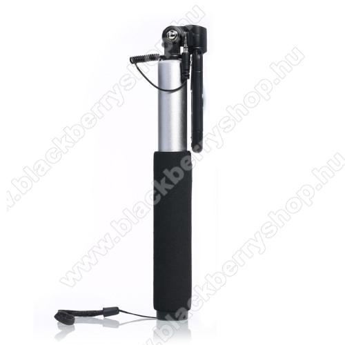 BLACKBERRY 7730REMAX P5 teleszkópos selfie bot - 3.5mm jack csatlakozás, forgatható, 59-86mm-ig állítható telefon tartó bölcső - FEKETE