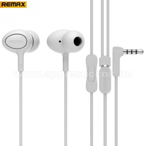 APPLE IPhone 5S REMAX RM-515 UNIVERZ�LIS SZTEREO headset / james bond  - 3,5mm jack, felvev? gomb, 3 p�r f�lgumi - FEH�R - GY�RI