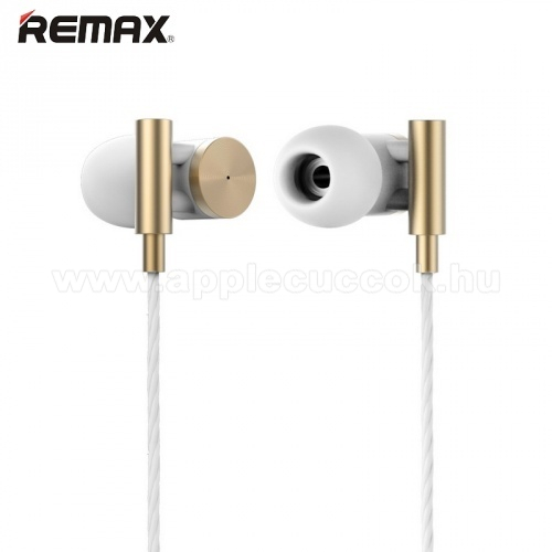 APPLE IPhone 5S REMAX RM-530 UNIVERZ�LIS SZTEREO headset / james bond  - 3,5mm jack, felvev? gomb, 1 p�r f�lgumi - ARANY- GY�RI