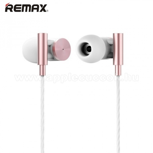 APPLE IPhone 5S REMAX RM-530 UNIVERZ�LIS SZTEREO headset / james bond  - 3,5mm jack, felvev? gomb, 1 p�r f�lgumi - ROSE GOLD - GY�RI