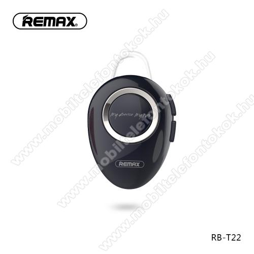 REMAX T22 bluetooth headset - v.4.2 + EDR, A2DP/HFP/ HSP/AVRCP, egyszerre 2 különböző telefonnal használható! - FEKETE - GYÁRI