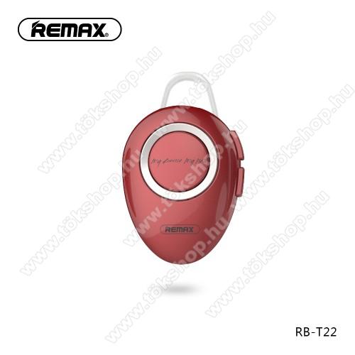 REMAX T22 bluetooth headset - v.4.2 + EDR, A2DP/HFP/ HSP/AVRCP, egyszerre 2 különböző telefonnal használható! - PIROS - GYÁRI