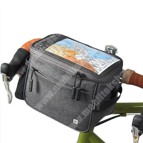"""LG G4c (H525N) RHINOWALK UNIVERZÁLIS biciklis / kerékpáros tartó konzol mobiltelefon készülékekhez - cseppálló védő tokos kialakítás, cipzár, vállpánt, több fakkos, kormányra rögzíthető, 21 x 12 x 17cm, 7""""-os készülékekhez - FEKETE"""