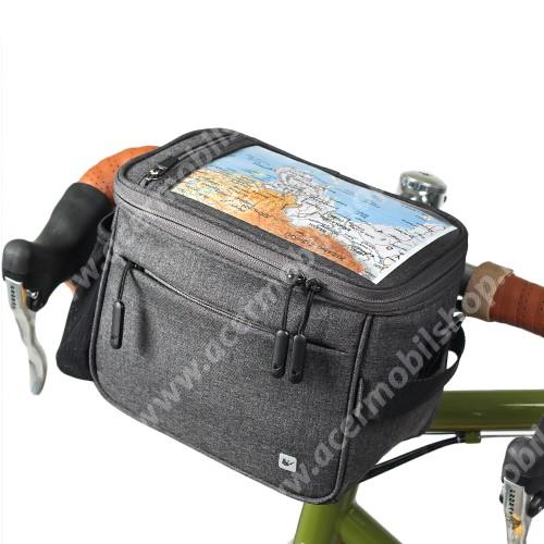 """ACER Liquid Z110RHINOWALK UNIVERZÁLIS biciklis / kerékpáros tartó konzol mobiltelefon készülékekhez - cseppálló védő tokos kialakítás, cipzár, vállpánt, több fakkos, kormányra rögzíthető, 21 x 12 x 17cm, 7""""-os készülékekhez - FEKETE"""