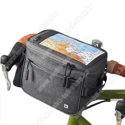 RHINOWALK UNIVERZÁLIS biciklis / kerékpáros tartó konzol mobiltelefon készülékekhez - cseppálló védő tokos kialakítás, cipzár, vállpánt, több fakkos, kormányra rögzíthető, 21 x 12 x 17cm, 7