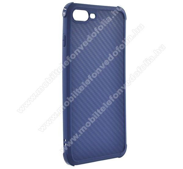 ROAR ARMOR CARBON szilikon védő tok / hátlap - KÉK - karbon mintás, erősített sarkok, ERŐS VÉDELEM! - APPLE iPhone 7 Plus / APPLE iPhone 8 Plus - GYÁRI