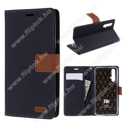ROAR KOREA notesz / mappa tok - FEKETE - oldalra nyíló, rejtett mágneses záródás, belső zseb, asztali tartó funkció, szilikon belső - HUAWEI Honor 20 / HUAWEI Honor 20S / HUAWEI nova 5T - GYÁRI