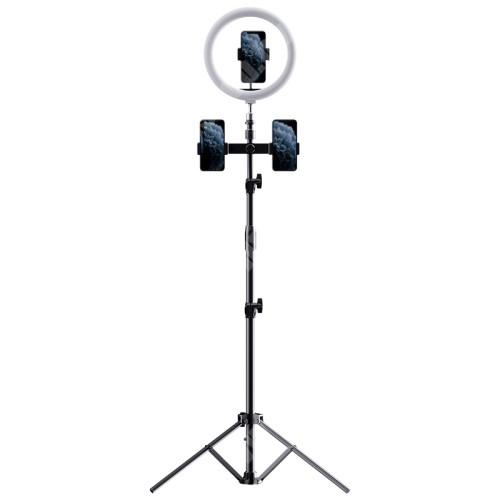 Elephone P9 Water ROCK UNIVERZÁLIS telefon tartó tripod állvány - egyszerre 3 készülékkel használható, LED körfény, állítható színhőmérséklet, Bluetooth távirányítóval, 360°-ban forgatható, 55–85 mm-ig nyíló bölcső, 97-1712mm-ig állítható magasság - FEKETE - GYÁRI