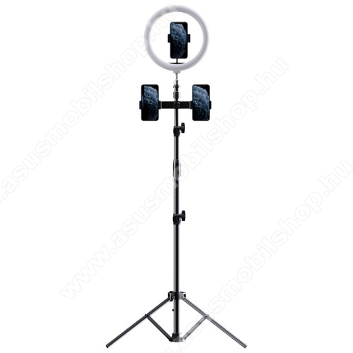 ROCK UNIVERZÁLIS telefon tartó tripod állvány - egyszerre 3 készülékkel használható, LED körfény, állítható színhőmérséklet, Bluetooth távirányítóval, 360°-ban forgatható, 55–85 mm-ig nyíló bölcső, 97-1712mm-ig állítható magasság - FEKETE - GYÁRI
