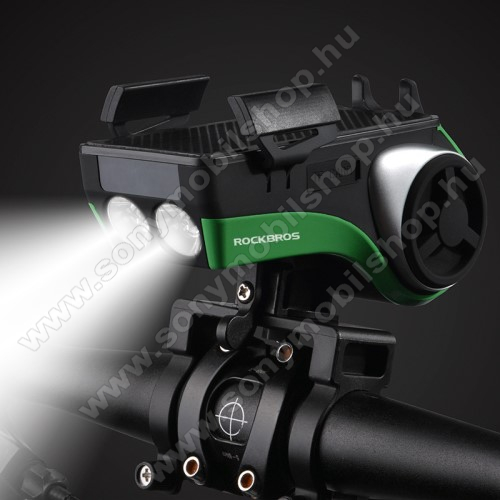 ROCKBROS UNIVERZÁLIS biciklis tartó konzol mobiltelefon készülékekhez - 5 az 1-ben, powerbank / tartó / csengő / LED lámpa / hangszóró - 4400mAh beépített akku, IP54 cseppálló, v4.0 kihangosító, AUX, kártyaolvasó, kormányra rögzíthető - FEKETE