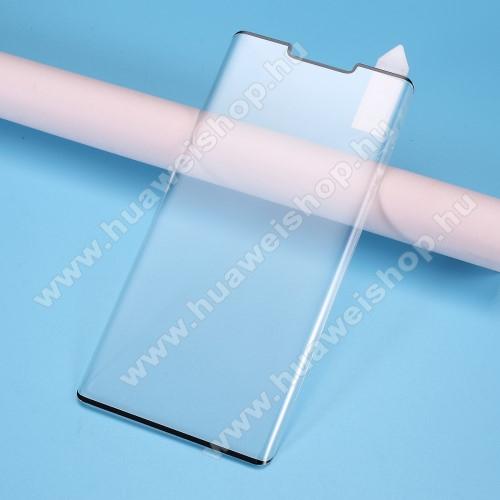 RURIHAI 3D Curved előlap védő karcálló edzett üveg, 0.3mm - FEKETE - HUAWEI Mate 30 Pro / HUAWEI Mate 30 Pro 5G - A TELJES KIJELZŐT VÉDI! - GYÁRI