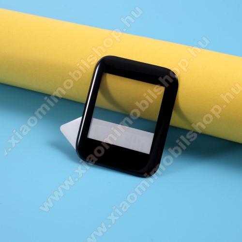 RURIHAI okosóra előlap védő karcálló flexibilis edzett üveg - 1db, 0,2mm, 9H, 3D, A teljes felületén tapad! - A TELJES ELŐLAPOT VÉDI! - FEKETE - Xiaomi Amazfit Bip / Bip S - GYÁRI