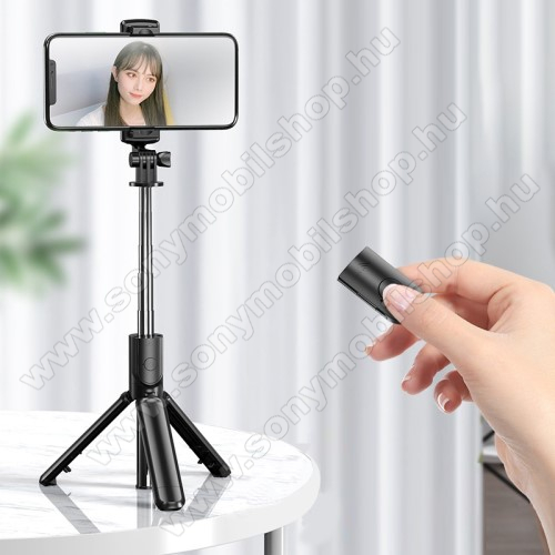 S03 Teleszkópos selfie bot és tripod állvány - BLUETOOTH 4.2 KIOLDÓVAL, 360 fokban forgatható, max 68cm hosszú nyél - FEKETE