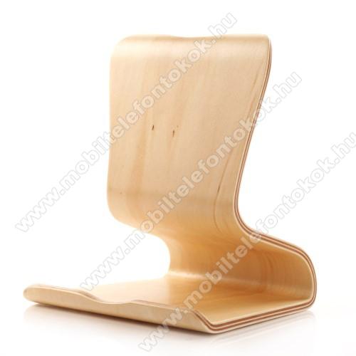 SAMDI UNIVERZÁLIS asztali tartó / állvány - valódi fából készült, csúszásgátló, két szögben használható - BÉZS