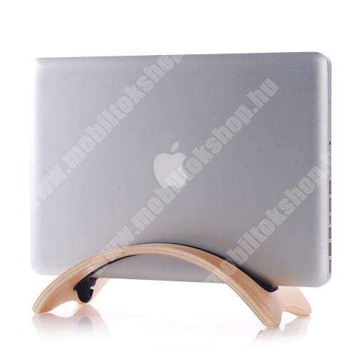 PRESTIGIO MultiPad 8.0 PRO DUO SAMDI UNIVERZÁLIS Tablet PC tartó / asztali állvány - valódi fából készült, híd alakú, szilikon betét, kábelrendező - BARNA