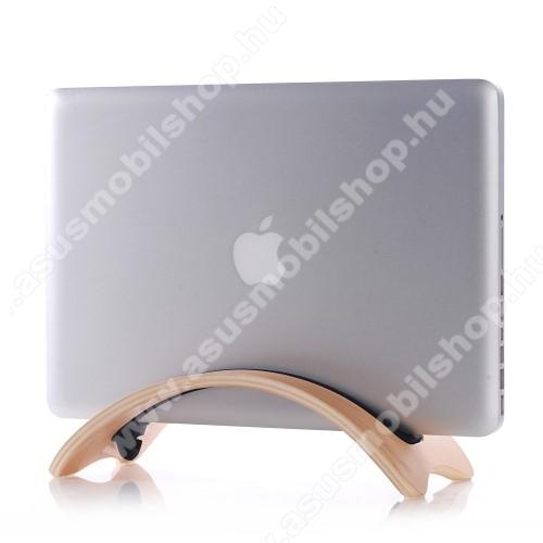 ASUS Memo Pad 7 ME572CSAMDI UNIVERZÁLIS Tablet PC tartó / asztali állvány - valódi fából készült, híd alakú, szilikon betét, kábelrendező - BARNA