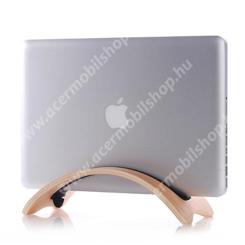 ACER Iconia Tab A200 SAMDI UNIVERZÁLIS Tablet PC tartó / asztali állvány - valódi fából készült, híd alakú, szilikon betét, kábelrendező - BARNA