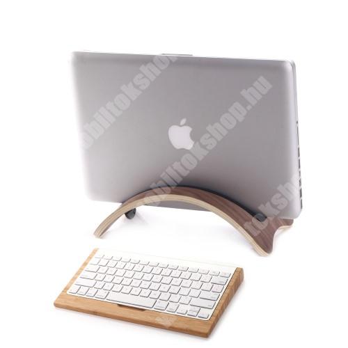 PRESTIGIO MultiPad 8.0 PRO DUO SAMDI UNIVERZÁLIS Tablet PC tartó / asztali állvány - valódi fából készült, híd alakú, szilikon betét, kábelrendező - KÁVÉBARNA