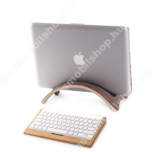 ASUS Memo Pad 7 ME572CSAMDI UNIVERZÁLIS Tablet PC tartó / asztali állvány - valódi fából készült, híd alakú, szilikon betét, kábelrendező - KÁVÉBARNA