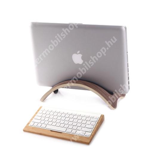 ACER Iconia Tab A200 SAMDI UNIVERZÁLIS Tablet PC tartó / asztali állvány - valódi fából készült, híd alakú, szilikon betét, kábelrendező - KÁVÉBARNA