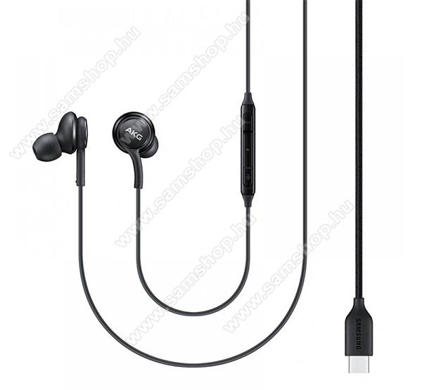 SAMSUNG AKG SZTEREO HEADSET / James bond - Type-C, felvevő és hangerőszabályzó gomb, beépített mikrofon, 2 pár fülgumi - FEKETE - EO-IC100BBE - GYÁRI
