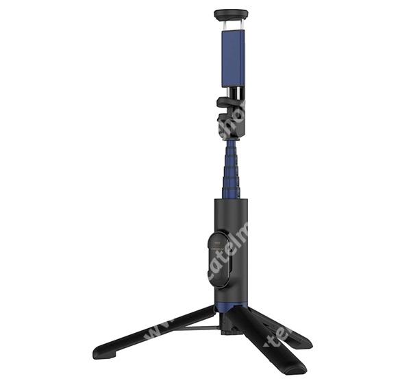 ALCATEL OTE 301 SAMSUNG alumínium tripod állvány és teleszkópos Selfie bot - FEKETE - Beépített Bluetooth kioldóval, 360 fokban forgatható bölcső, teleszkópos kar 6 fokozatban nyitható 21cm hosszú nyél - GP-TOU020SAABW - GYÁRI