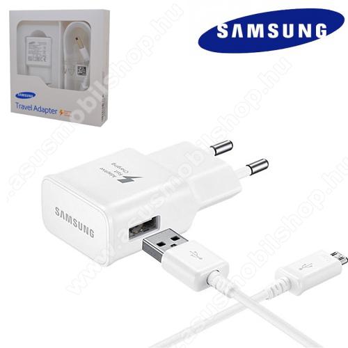 SAMSUNG EP-TA20EWEUGWW hálózati töltő USB aljzat - microUSB 2.0, 5V / 2000 mAh, Fast charge, Quick Charge 2.0 9V/1.67A, 5V/2A, Gyorstöltő, ECB-DU4EWE kábellel - FEHÉR - GYÁRI