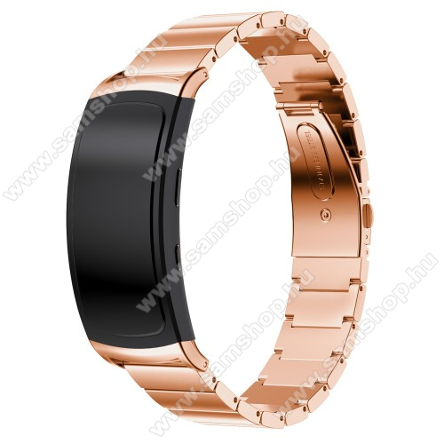 SAMSUNG SM-R365 Gear Fit 2 Pro SAMSUNG Gear Fit 2 SM-R360 / Samsung Gear Fit 2 Pro SM-R365 fém okosóra szíj, 25cm - ROSE GOLD