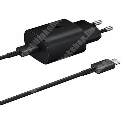 SAMSUNG hálózati töltő - Type-C aljzattal, 10V / 3A, 25W, Type-C kábel, gyorstöltés támogatás - FEKETE - EP-TA800XBEG - GYÁRI
