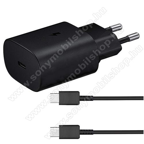 SONY Xperia L1 (G3311 / G3312 / G3313)SAMSUNG hálózati töltő - Type-C aljzattal, 5V / 3000mA, 25W, PD gyorstöltés támogatás + EP-DA705BBE Type-C kábel - FEKETE - EP-TA800EBE+EP-DA705BBE - GYÁRI