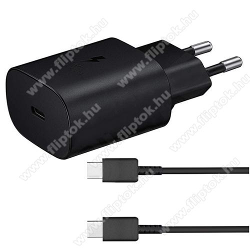 ZTE S30SAMSUNG hálózati töltő - Type-C aljzattal, 5V / 3000mA, 25W, PD gyorstöltés támogatás + EP-DA705BBE Type-C kábel - FEKETE - EP-TA800EBE+EP-DA705BBE - GYÁRI