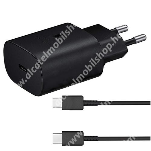 SAMSUNG hálózati töltő - Type-C aljzattal, 5V / 3000mA, 25W, PD gyorstöltés támogatás + EP-DA705BBE Type-C kábel - FEKETE - EP-TA800EBE+EP-DA705BBE - GYÁRI