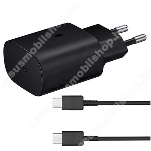ASUS Zenpad 10 (Z301MFL)SAMSUNG hálózati töltő - Type-C aljzattal, 5V / 3000mA, 25W, PD gyorstöltés támogatás + EP-DA705BBE Type-C kábel - FEKETE - EP-TA800EBE+EP-DA705BBE - GYÁRI