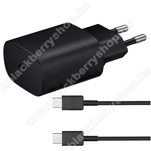 BLACKBERRY Evolve XSAMSUNG hálózati töltő - Type-C aljzattal, 5V / 3000mA, 25W, PD gyorstöltés támogatás + EP-DA705BBE Type-C kábel - FEKETE - EP-TA800EBE+EP-DA705BBE - GYÁRI