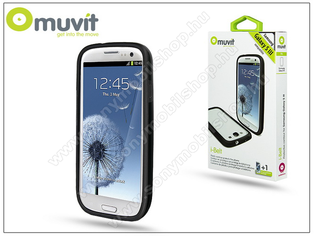 SAMSUNG i9300 Galaxy S III védőkeret képernyővédő fóliával - Muvit i-Belt Bumper - black - I-MUBKC0616 - GYÁRI