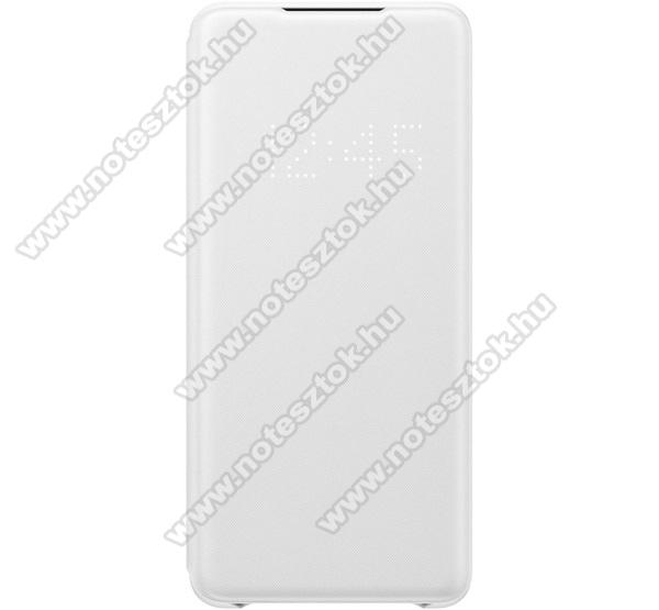 SAMSUNG notesz / flip tok - FEHÉR - aktív flip, oldalra nyíló, bankkártya tartó, LED kijelző, textil minta, műanyag belső - SAMSUNG SM-G985F Galaxy S20+ / SAMSUNG SM-G986F Galaxy S20+ 5G - EF-NG985PW - GYÁRI