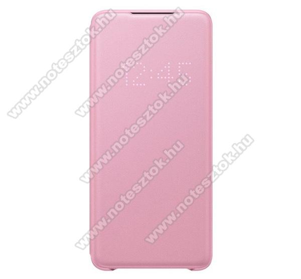 SAMSUNG notesz / flip tok - RÓZSASZÍN - aktív flip, oldalra nyíló, bankkártya tartó, LED kijelző, textil minta, műanyag belső - SAMSUNG SM-G985F Galaxy S20+ / SAMSUNG SM-G986F Galaxy S20+ 5G - EF-NG985PP - GYÁRI