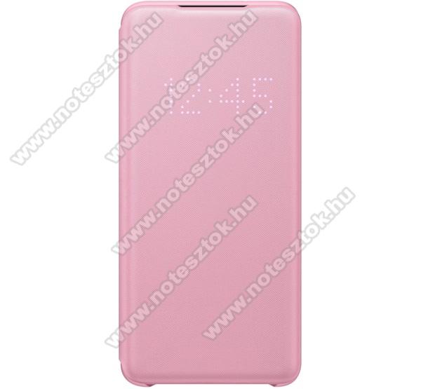 SAMSUNG notesz / flip tok - RÓZSASZÍN - aktív flip, oldalra nyíló, bankkártya tartó, LED kijelző, textil minta, műanyag belső - SAMSUNG Galaxy S20 (SM-G980F) / SAMSUNG Galaxy S20 5G (SM-G981) - EF-NG980PP - GYÁRI