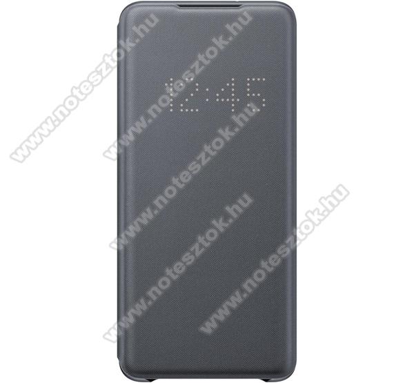 SAMSUNG notesz / flip tok - SZÜRKE - aktív flip, oldalra nyíló, bankkártya tartó, LED kijelző, textil minta, műanyag belső - SAMSUNG SM-G985F Galaxy S20+ / SAMSUNG SM-G986F Galaxy S20+ 5G - EF-NG985PJ - GYÁRI