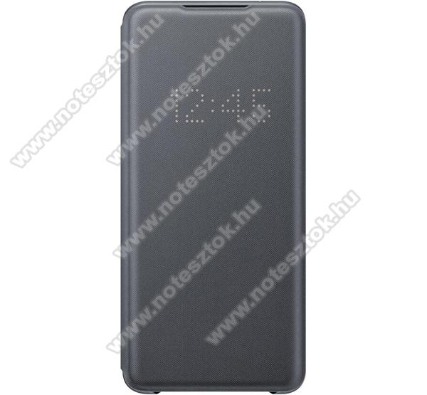 SAMSUNG notesz / flip tok - SZÜRKE - aktív flip, oldalra nyíló, bankkártya tartó, LED kijelző, textil minta, műanyag belső - SAMSUNG SM-G988F Galaxy S20 Ultra / SAMSUNG Galaxy S20 Ultra 5G - EF-NG988PJ - GYÁRI