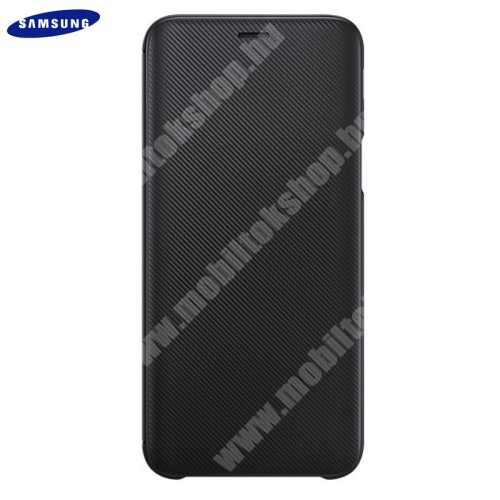 SAMSUNG notesz tok (aktív flip, oldalra nyíló, bankkártya tartó, karbon minta) FEKETE - EF-WJ600CBEGWW - Samsung Galaxy J6 (2018) J600F - GYÁRI