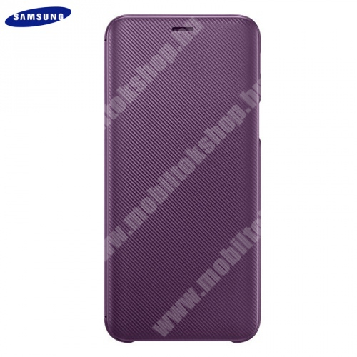 SAMSUNG notesz tok (aktív flip, oldalra nyíló, bankkártya tartó, karbon minta) LILA - EF-WJ600CEEG - Samsung Galaxy J6 (2018) J600F - GYÁRI